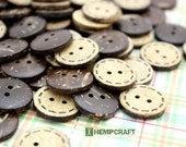 Coconut Buttons Beads, 50pc 18mm Round, Stitch Back Natural Coconut 2 Holed Button Beads