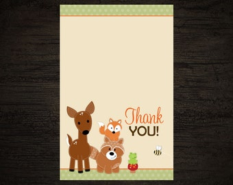 10 Woodland Thank you Cards -- Folded Thank you Cards for Baby Shower or Birthday