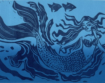 Mermaid Linocut, Hand pulled Linocut of the Day
