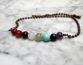 UNISEX Mens Womens Full Spectrum Natural Stone and Crystal Chakra Bar Bracelet Anklet with Copper Chain