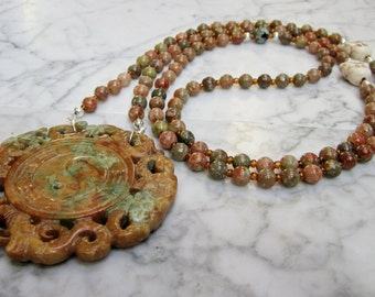Yin Yang Mantra Mala - 108 Natural Orange and Green Stone and Crystal Lower Chakra Necklace with Hand Carved Pendant