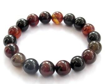 10mm Agate Tibetan Buddhist Prayer Beads Meditation Wrist Mala Rosary Bracelet  T3239