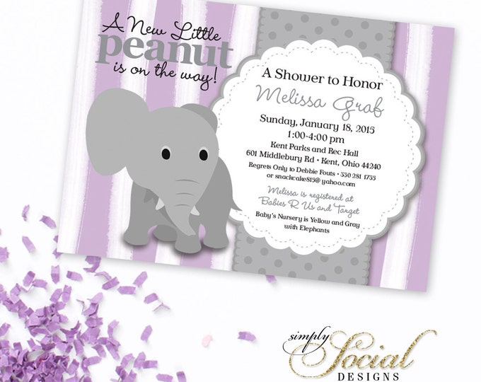 Elephant Baby Shower Invitation Lilac Purple Lavender Stripe and Grey Little Peanut Printable