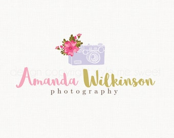 Camera With Watercolor Flowers Logo Premade Logo Design Photography Logo Graphic Design Watercolour Logo Photographers Logo Watermark Logo
