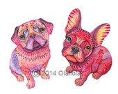 "Pug and French Bulldog // SALE 1+1 // Buy one get one FREE, high quality art print, hot pink ""Pugberry"", size A3"