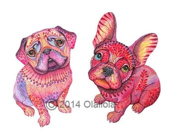 """Pug and French Bulldog, dogs, pet, high quality art print, hot pink """"Pugberry"""", size A3"""