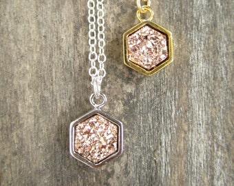 Rose Gold Druzy Necklace, Rose Gold Necklace, Druzy Necklace, Layering Necklace, Geometric Jewelry, Druzy Quartz Necklace