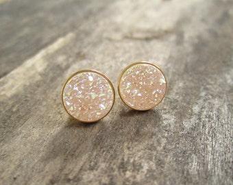 Natural Druzy Earrings, Druzy Studs, Druzy Quartz Jewelry, Drusy Earrings, Studs Earrings, Gold Studs, Aurora Borealis Druzy,