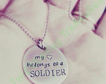 Military Necklace - Hand Stamped Stainless Steel - Military Wife - Soldier Necklace - Army - Navy - Deployment