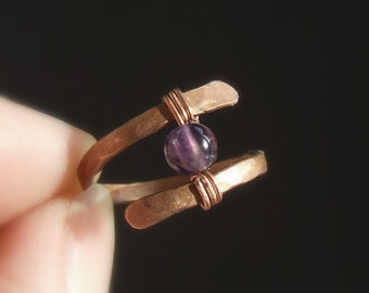 Amethyst gemstone ring, february birthstone jewelry, hammered copper ring, purple stone ring, amethyst gemstone jewelry