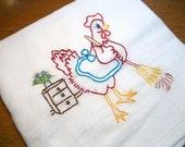 Flour Sack Dish Towel Cotton Dish Towel Cleaning Maid Hen Dish Towel Chicken Tea Towel