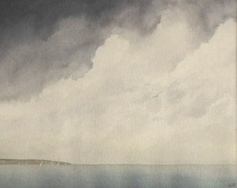 Original watercolour painting ocean storm