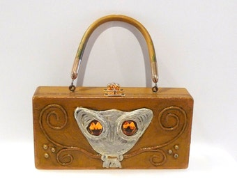 Enid Collins Paper Mache Box Purse Vintage Owl Papier Mache Bag Enid Collins of Texas Decoupage Box Purse 60s Signed Interior