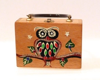 Gary Gails of Texas Owl Wooden Box Bag Vintage Wise Owl in Tree 1970s Small Mini Box Purse Woodland Hoot Owl Googly Eyes Japan Cute Tweens