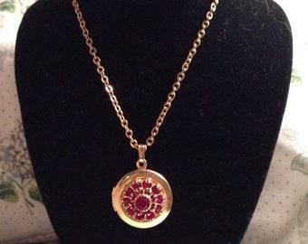 Vintage goldtone red rhinestone locket necklace pendant