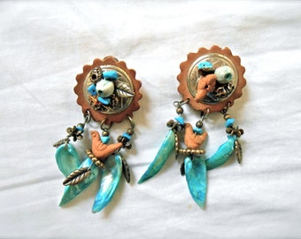 Vintage Southwestern Inspired Dangly Earrings Turquoise Clay Birds Beaded Feathers Leather Early 1990s
