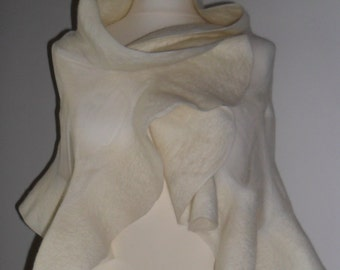 cream nuno felted shawl silk nuno bridal