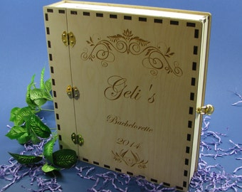 Wood Wedding Photo Album or Guest Book With Padlock 8.5x11 Personalized by You