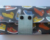 Mid-sized Wallet - Sneakers/Walla Wallat, shoes, Converse, teen, plaid, punk, retro, shoelaces, card and cash case, vinyl wallet