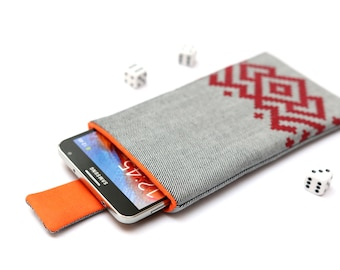 Galaxy Note 7, Note 5, Note Edge, Note 4, 3 sleeve case cover pouch with magnetic closure light jeans and orange with red ornament pattern