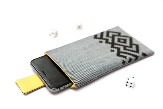 iPhone 6s Plus, 6 Plus, iPhone 6s, 6, iPhone 5 sleeve case pouch with magnetic closure light jeans and yellow with black ornament pattern