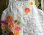 Ladies Handpainted Flax brand 100 percent linen tank, medium