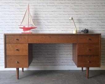 Society Desk - Solid Cherry - Teak Stain - Mid Century Modern Inspired