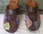 Upcycled Original Hand-painted Ladies' Brown Suede Sofft Clogs Mules 7M Flowers