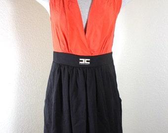 Vintage Elisabetta FRANCHI Orange Black Dress Viscose Italy Medium Sz. 40 3 4 5