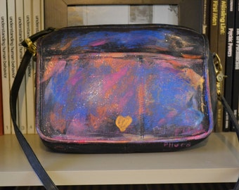 Coach Vintage Leather Shoulder Purse Hand Painted Abstract Festival SALE Valentines Day