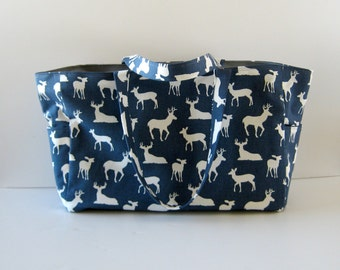 MADE TO ORDER Deer Diaper Bag, School Bag, Work Bag, Waterproof lining, Magnetic snap closure, Available in Navy Blue and Mint Green