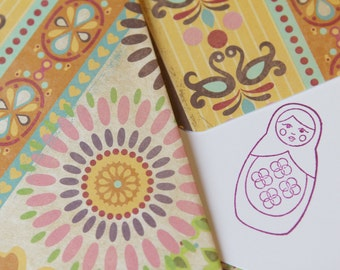 Set of 2 Stationery - Designs with Mini Flowers, Pink, Purple, Green, Yellow Orange Red - Russian Dolls