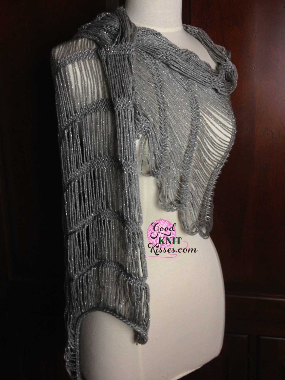 Loom Knit Lacy Shawl PATTERN. Dew Drop Shawl pattern by GKK.
