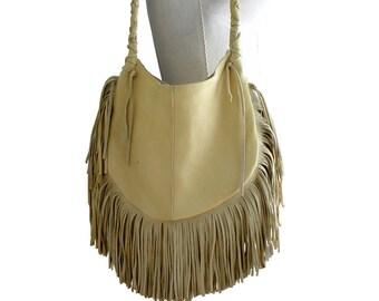 Leather Fringe Hobo Bag , Fringe Boho bag , Bohemian Bag , Leather , palomino yellow  FRANGIA BAG