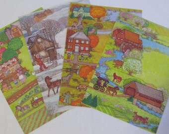4 Vintage Current MK Howe Colorful Country Seasons Fold A Note Lot