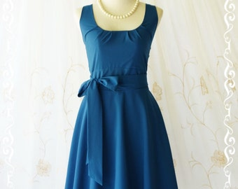 Dark blue dress blue party dress blue prom dress blue bridesmaid dresses blue vintage dress style blue sundress day dress