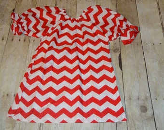 Christmas Red and White Chevron Peasant Dress