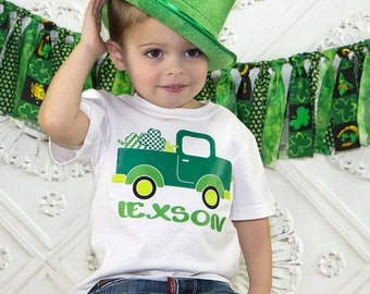 Boys St. Patrick's Day Shirt with Truck and Clovers