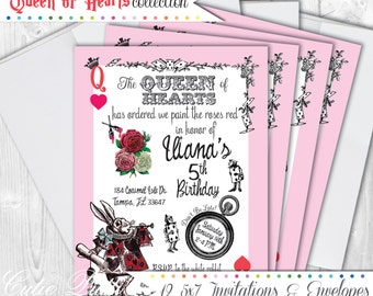 Queen of Hearts Invitations, 5X7 Custom Invitations by Cutie Putti Paperie