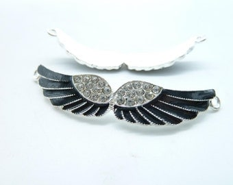 2pcs 12x56mm Silver Double Loops Enamel Black  Fairy Angels Wings With Diamonds Connectors Links Charms Pendants C4961