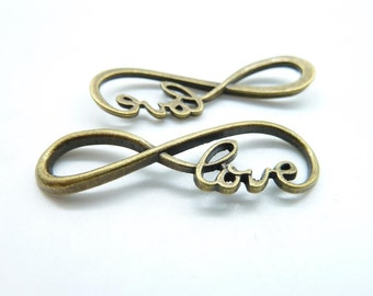 "15pcs 15x39mm Antique Bronze  letter ""8"" Infinity symbol With Love Connector Link Charm Infinite Pendant c6852"