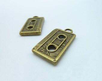 10pcs 12x20mm Antique Bronze Thick Cassette Tape  Charm Pendant c48