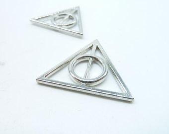 10pcs 32x32m White K Filigree Triangle Charm Pendant (no loop)C6491