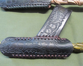 Customizable Leather Oak Leaf and Acorn Wand Sheath, Holder, & Holster, for 5/8in Diameter Wand