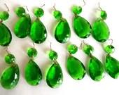 Vintage Crystals / Green/ Emerald/ Teardrop Shape/ Replacements
