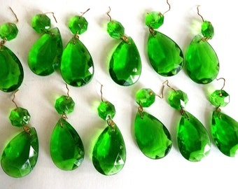 Vintage Crystals / Green/ Emerald/ Teardrop Shape/ Replacements