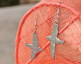 Polymer Clay earrings... Flying Birds Silver Glitter