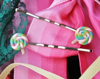 Fun Food Bobby Pins... Colorful Lollipop Candy Hair Pins