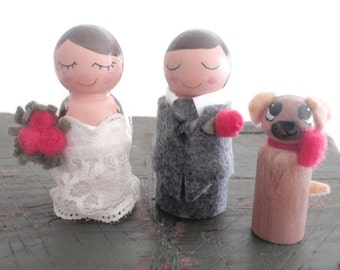 Wooden  Bride and Groom and One Pet Wedding Cake Topper (Cupcake Topper) (Wooden Bride Groom Dog Cat Pet Dolls ) (Wood Wedding Dolls)