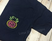 Pineapple Comfort Colors Short Sleeve Pocket Tee Shirt- preppy- cute- everyday-nautical